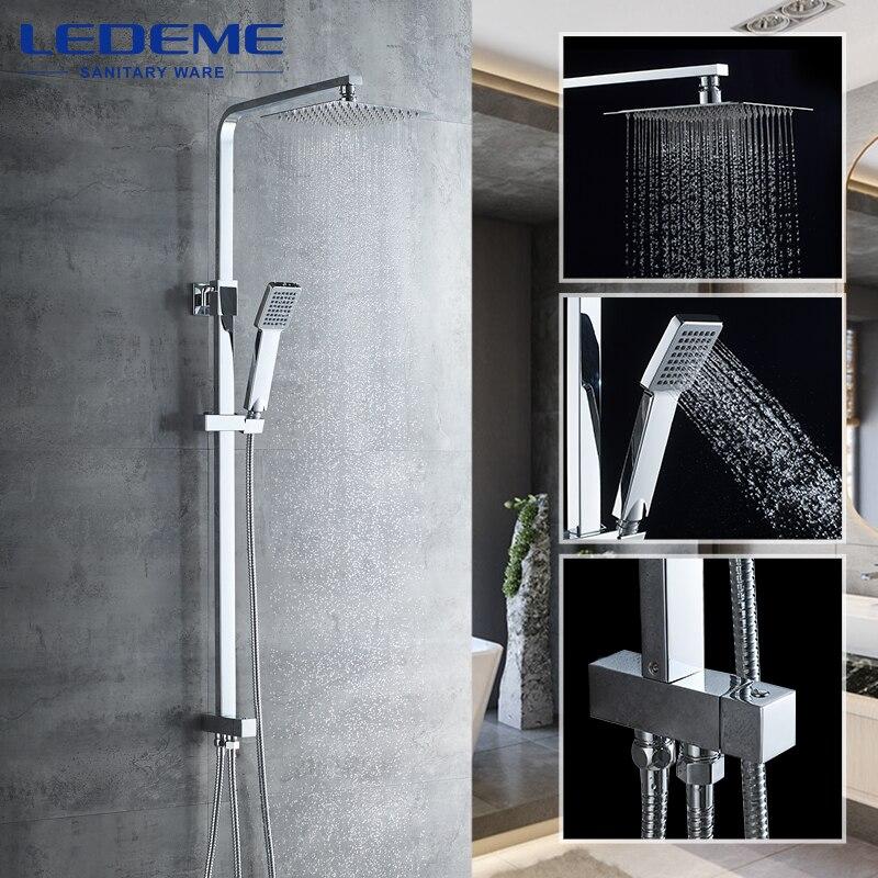 LEDEME Bath Shower Faucet Set Wall Mounted Shower Faucets Bathroom Faucet Bathtub Faucets Waterfall Mixer Tap Set Torneira L2416
